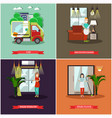 set of cleaning posters banners in flat vector image vector image