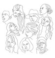 set portraits in line art style isolated vector image