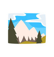 snowy mountains and blue sky with clouds vector image vector image