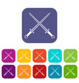 swords icons set vector image vector image
