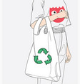 the girl is carrying a cloth bag vector image