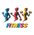 training woman colorful fitness emblems vector image
