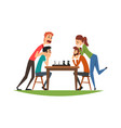 two man playing chess with their girlfriends vector image vector image