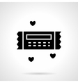 Valentines gift coupon black icon vector image