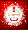 winter background with sale round label vector image vector image