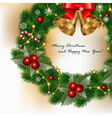 wreath with holly vector image vector image