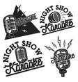 vintage karaoke emblems vector image