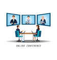 businesspeople attending video conference on desk vector image