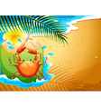 A beach with a refreshing coconut drink and a crab vector image vector image