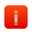 airport control tower icon digital red vector image vector image