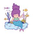 beautiful mermaid with seaweed fairytale character vector image vector image