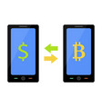 bitcoin and dollar exchange vector image