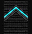 blue light arrow on dark gray hexagon mesh vector image vector image