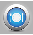 blue metal button - fork and knife with plate vector image