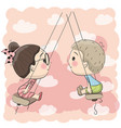 boy and girl on the swing vector image vector image