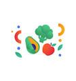 broccoli avocado red apple vegan or balanced vector image