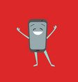 cartoon character smartphone mobile phone on a red vector image vector image
