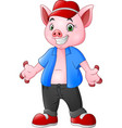 cartoon pig wearing a blue clothes and red hat vector image vector image