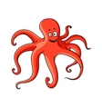 Cartoon red octopus with long tentacles vector image