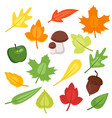 cartoon style set of autumn symbols vector image vector image