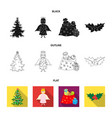 christmas tree angel gifts and holly blackflat vector image