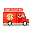 courier in delivery truck cartoon vector image vector image