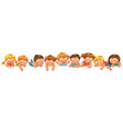 cute little kids over a white background vector image