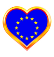 EU flag in heart vector image vector image
