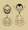 Four Halloween Character Outline vector image vector image