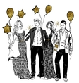 Friends party with baloons vector image vector image