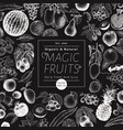 fruits and berries background on chalk vector image