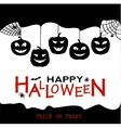 halloween design pumpkins and houses black vector image