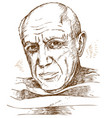 hand drawn portrait picasso vector image vector image