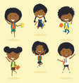 happy african american school girls jumping vector image vector image