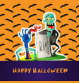 happy halloween poster with cute zombie vector image vector image