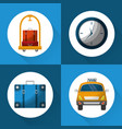hotel service travel set icons vector image vector image