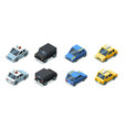 isometric cars front and back side views urban vector image vector image