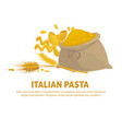 italian pasta promo banner with full sack and vector image