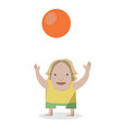 kid with ball on a white vector image