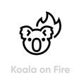 koala on fire icon editable line vector image