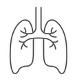 lungs thin line icon anatomy biology pulmonology vector image vector image
