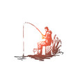 man fishing hobby leisure rod concept vector image vector image