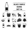 milk set icons in black style big collection milk vector image vector image