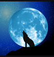 moon view from the ground howling wolf elements vector image