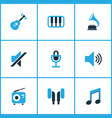multimedia colored icons set collection of radio vector image vector image