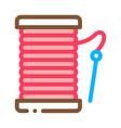 needle thread icon outline vector image