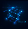 neon cube in with lens flare and glowing particles vector image vector image