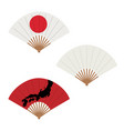 oriental japan fan set isolated on white vector image vector image
