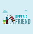 refer a friend concept with word of text and vector image