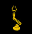 robotic arm isolated on black background vector image vector image